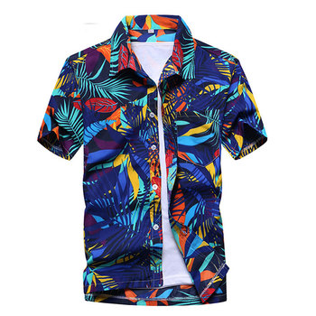 Mens Summer Fashion Beach Hawaiian Shirt Brand Slim Fit Short Sleeve Floral Shirts Casual Holiday Party Clothing Camisa Hawaiana 2