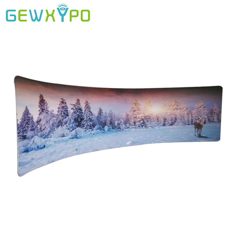 High Quality 20ft C Shape Advertising Events Portable Tension Fabric Media Wall Display Stand With Single Side Banner Printing