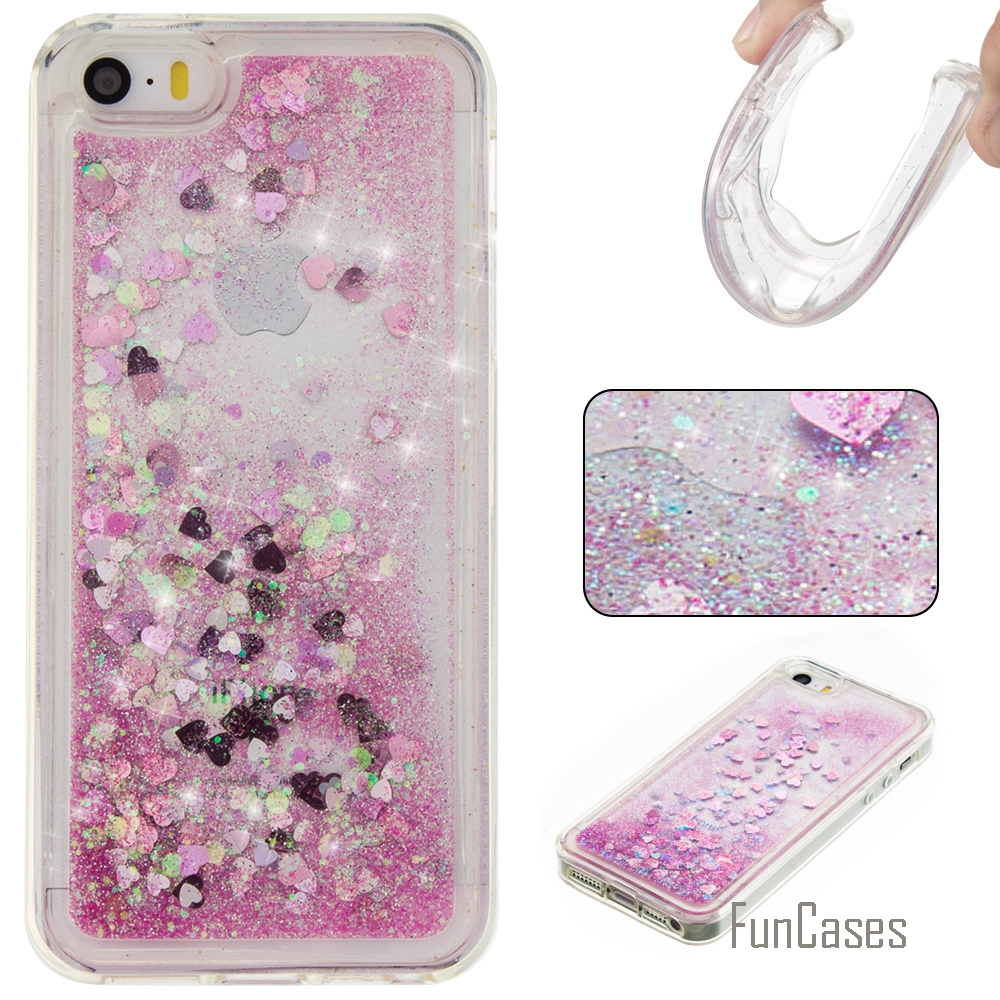 Coque Etui Bling Love Heart Stars Soft TPU Phone Case Cover For iPhone 5S Funda Quicksand Cell Phone Case For iPhone 5 5S SE 5G