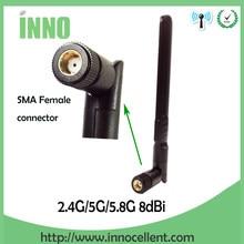 2,4 ГГц, 5 ГГц, 5,8 ГГц, 8 дБи, двухдиапазонный Wi-Fi разъем, антенна SMA, Женский беспроводной маршрутизатор 2,4 ГГц, антенна 5,8 ГГц