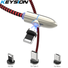 KEYSION L-Line Magnetic Charging Cable ,90 Degree LED for iPhone XR 8 7 6S Plus & Micro USB Type-C C