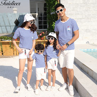 Summer fashion striped short sleeved bear T shirt matching family outfits