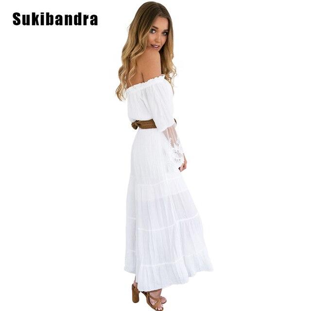 1d7aac5fde8 Sukibandra femmes épaule dénudée manches longues évasées Vintage blanc  bohème Maxi dentelle Patchwork robe été plage