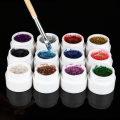 1Pcs Nail Art Gel Glitter Shinning Powder Solid Acrylic UV Gel 12 Colors To Choose Tip Extension Builder DIY Decoration Manicure