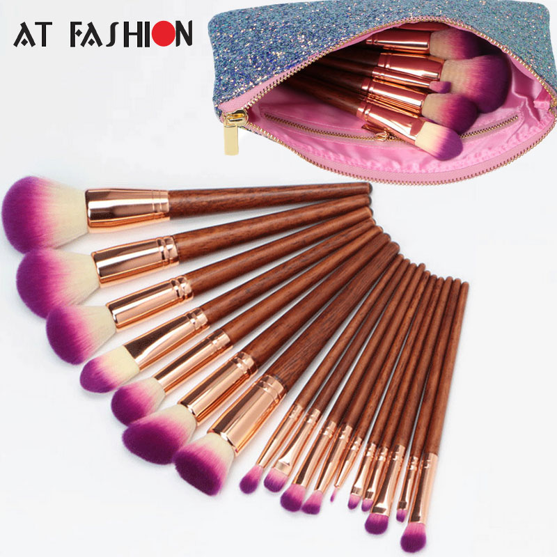 17Pcs Professional Eyeshadow Powder Foundation Blush Makeup Brush Set Cosmetic Beauty Tools High Quality Facial Brushes with Bag professional 15pcs set facial makeup brushes set eyeshadow eye make up brush beauty blush powder foundation cosmetic brush tool