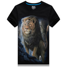 Newest 2019 Summer Fashion 3D T-Shirt Men's funny T-shirt lion Printed O-neck plus size 6XL hip hop clothing black cool Male Top(China)