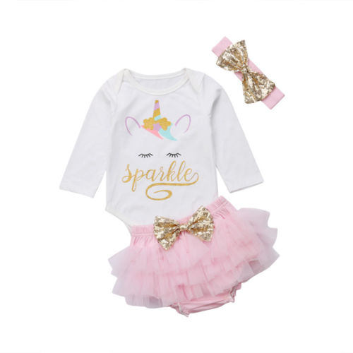 f91b8b7cbe18 Cartoon Unicorn Toddler Clothes Set Baby Girl Unicorn Cotton Top Romper  Pink Tutu Skirt Short Infant Baby 3Pcs Outfits Clothes-in Clothing Sets  from Mother ...