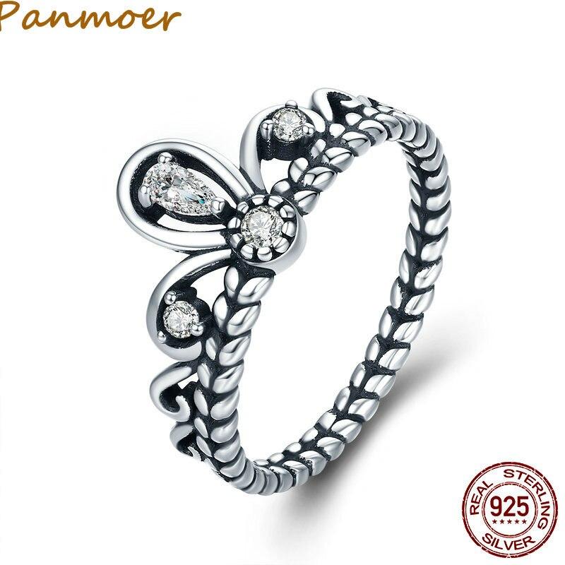 Лидер продаж аутентичные стерлингового серебра 925 Princess Crown стекируемые палец кольцо для Для женщин Обручение Свадебные украшения SCR337