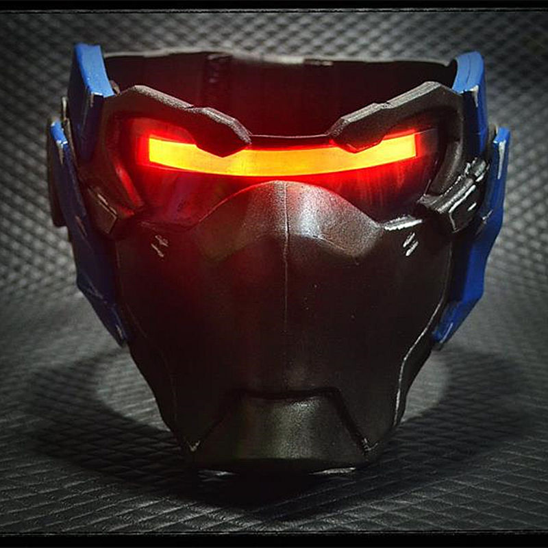 Over-watch OW Glow Soldier 76 Weapon Mask Cosplay LED <font><b>Light</b></font> Prop John Jack Morrison Resin Game Masks Halloween overwatch