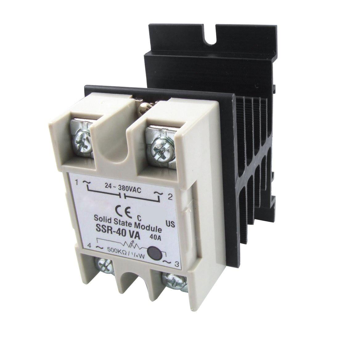 DHDL- VolTage Resistance Regulator Solid State Relay SSR 40A 24-380V AC w Heat SInk 500kohm 2w 24 380vac 40a ssr solid state relay resistance regulator