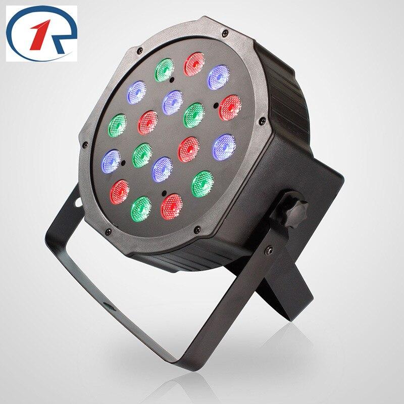 ZjRight 18x1W Led par Lights Red Green Blue DMX512 Master Slave Flat DJ stage club Controller disco bar wedding ceiling lights