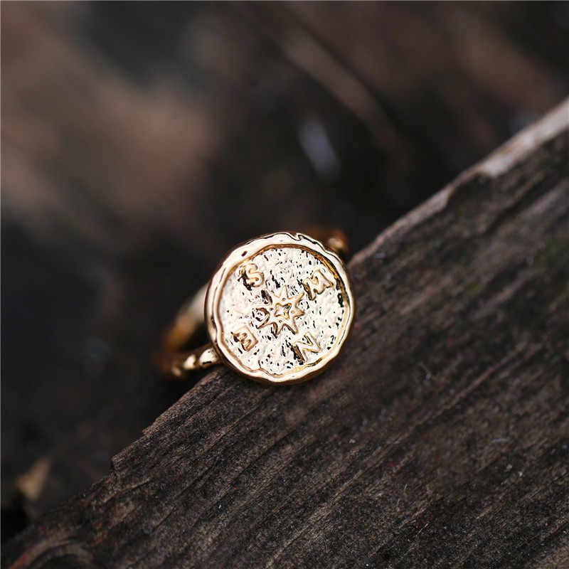 BoHo Warna Emas Dipalu Perjalanan Wanderlust Kompas Cincin Vintage Teman Terbaik Cincin untuk Wanita Hadiah Kelulusan Persahabatan Perhiasan