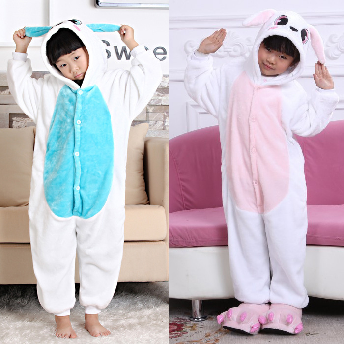 Kids  Rabbit Pajamas Pink Blue Flannel Sleepwear Sleep Lounge Animal Pattern Cosplay Costume Home Pyjamas Clothes