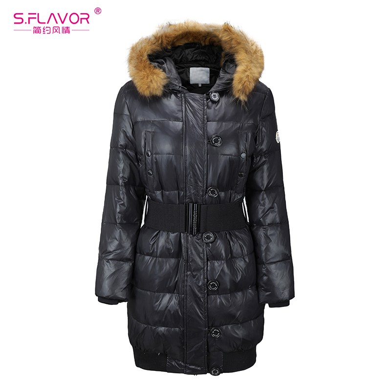 S.FLAVOR Fashion Winter Warm Down Jackets Fur Collar Hooded Outerwear Slim Coat Medium-long Women Winter Parka No Belt