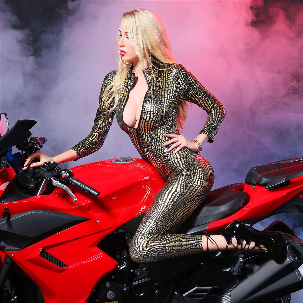 Buy light Crocodile grain Long sleeves Cardigan zipper Tighten Club bodysuit sexy lingerie porno bodystocking latex catsuit leather