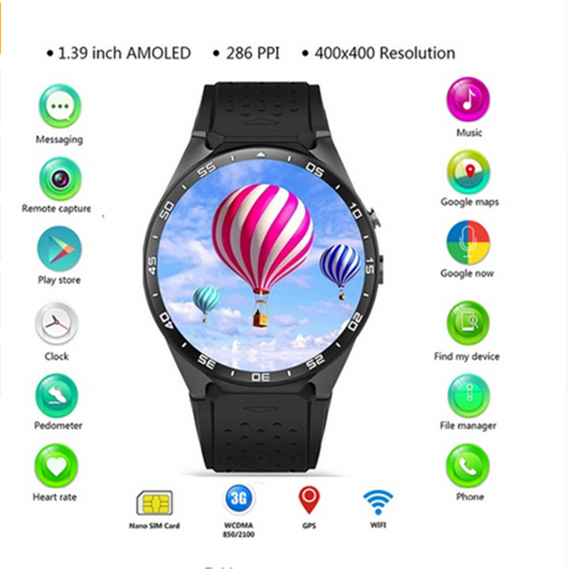 Sograce KW88 3G WIFI GPS Smart Watch Android 5.1 1.39'' Screen Heart Rate Monitor Smartwatch MTK6580 4GB Bluetooth Phone Watch dm2018 smart watch android gps sports 4g smartwatch phone 1 54 inch bluetooth heart rate tracker monitor pedometer pk kw88 dm98