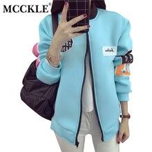 MCCKLE 2017 Autumn Women Letter Print Baseball Jacket Harajuku Pattern Thick Warm Ladies Outwear Coat Jaqueta Feminina Inverno