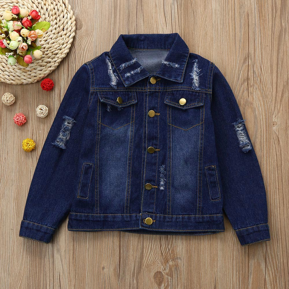 2019 Children Coat Hole Washed Denim Jeans Coat Jacket For Girls Autumn Winter Trench Outwear Cloak Kids Clothes Parkas 823