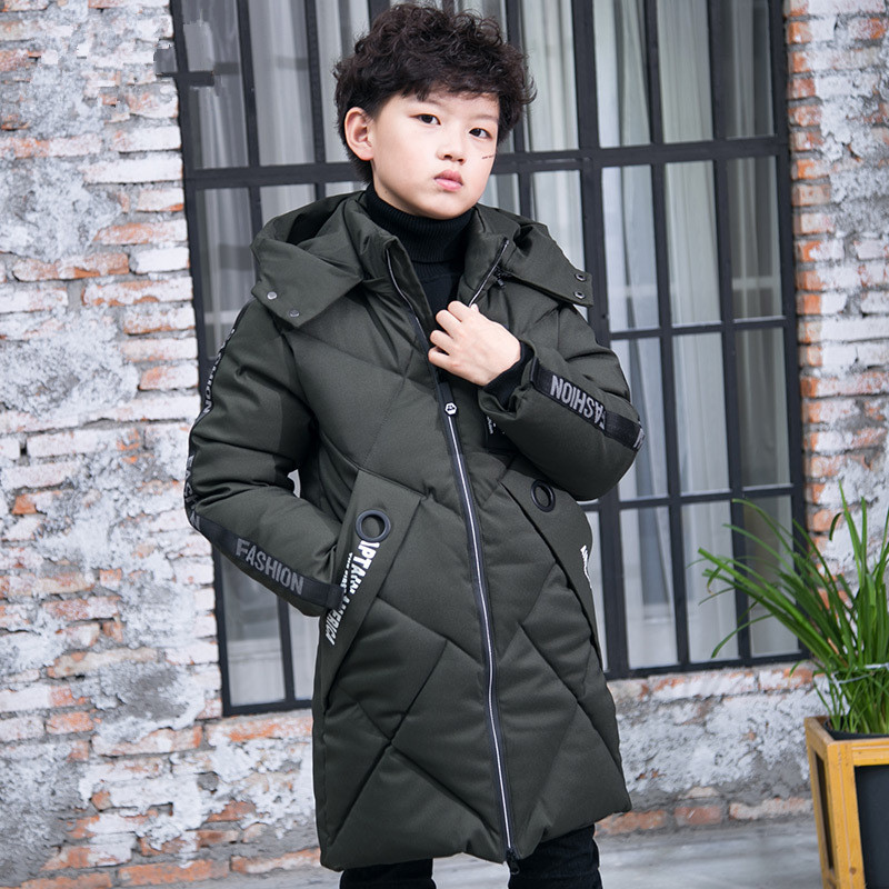 Winter Brand Boys Down & Parkas Long Section Hooded Jacket Coats for Kids Warm Outerwear Coats Thick Cotton Padded Jacket Male a suit of vintage rhinestone artificial crystal necklace ring and earrings for women