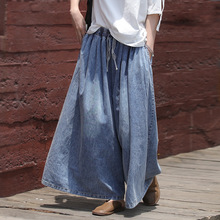 Woman Jeans Loose Casual Denim Wide Leg Pants 2019 New Female Elastic Waist Pocket Casual Solid Color Vintage Trousers Plus Size summer national style embroidered vintage denim wide leg pants elastic waist woman casual loose pocket jeans ankle length pants