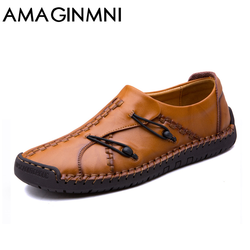 AMAGINMNI Brand Fashion Summer Soft Moccasins Men Loafers High Quality Genuine Leather Shoes Men Flats Gommino Driving Shoes