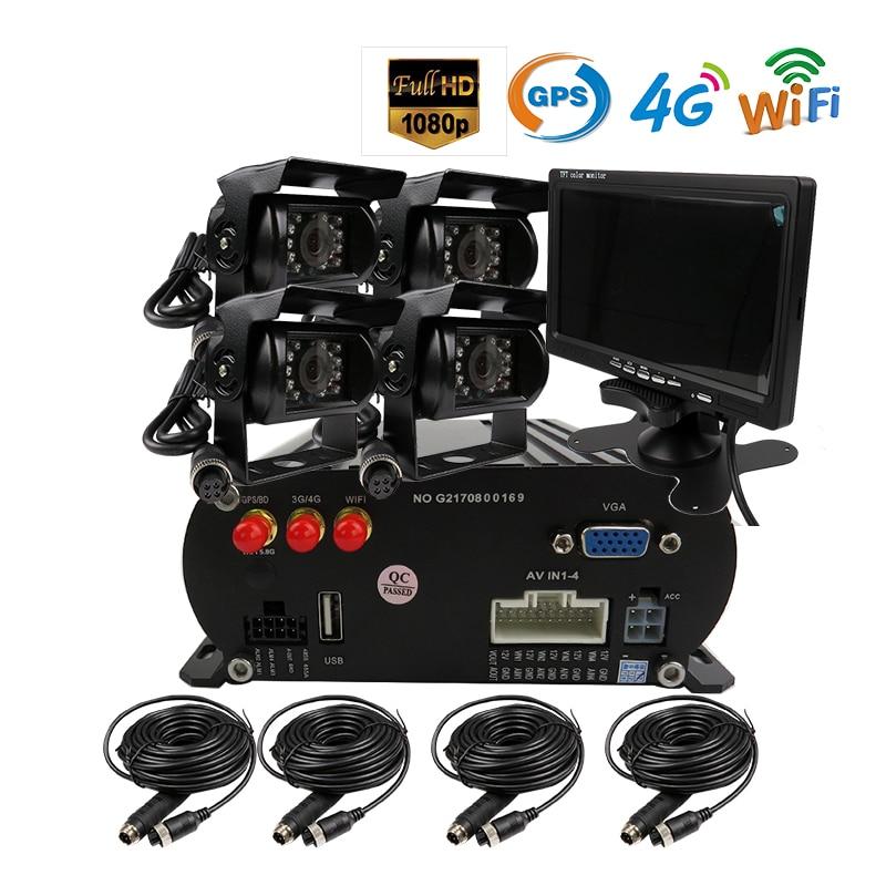 Free Shipping 4 CH WIFI GPS 4G 1080P AHD 2TB HDD SD Car DVR MDVR Video Recorder Phone Remote Monitor Rear View Car Camera 7