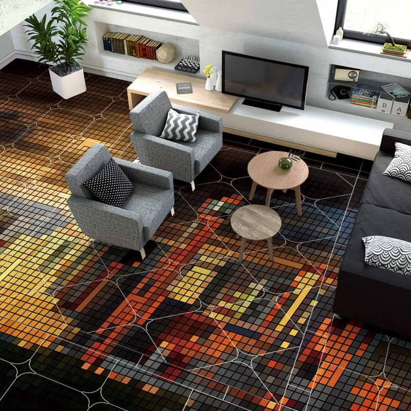 Free Shipping 3D European city architecture geometric square floor mural Self - adhesive shopping mall flooring wallpaper city center to regional mall – architecture the automobile