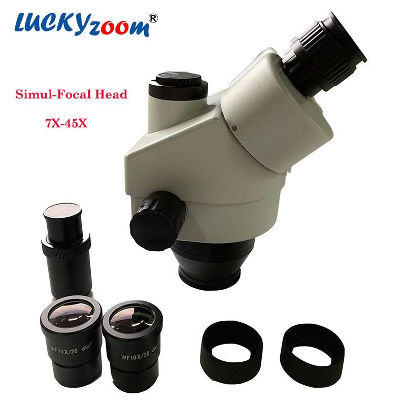 Lucky yzoom 7X-45X simul-focal tête de Microscope stéréo Zoom trinoculaire WF10X/20 accessoires de Microscopio d'oculaire livraison gratuite