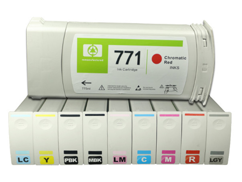 Compatible ink cartridge with Pigment ink for HP771 Full cartridge for HP Designjet Z6200 Compatible Ink Cartridge roland eco solvent full ink cartridge for xj740 640 xc540 with chip 440ml 6 colors cmyk lc lm