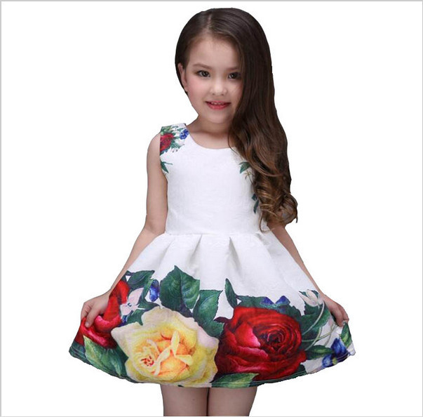 2017 new summer girls dress white designer brand new children clothing rose flower princess wedding party Lace girl clothes 1