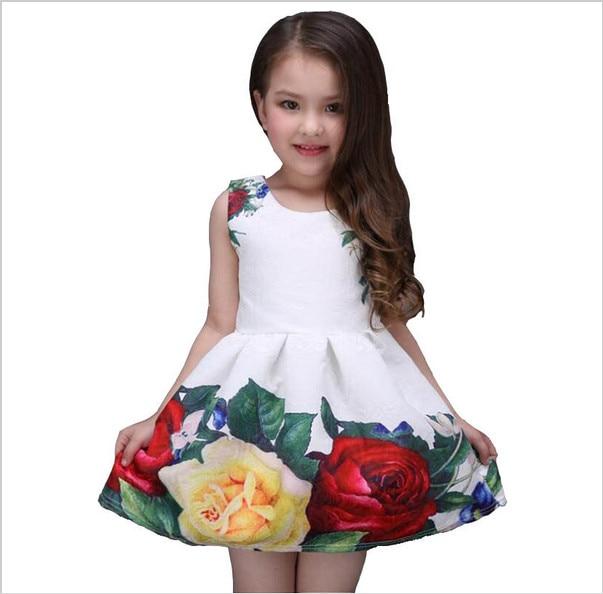 2017 new summer girls dress white designer brand new children clothing rose flower princess wedding party Lace girl clothes
