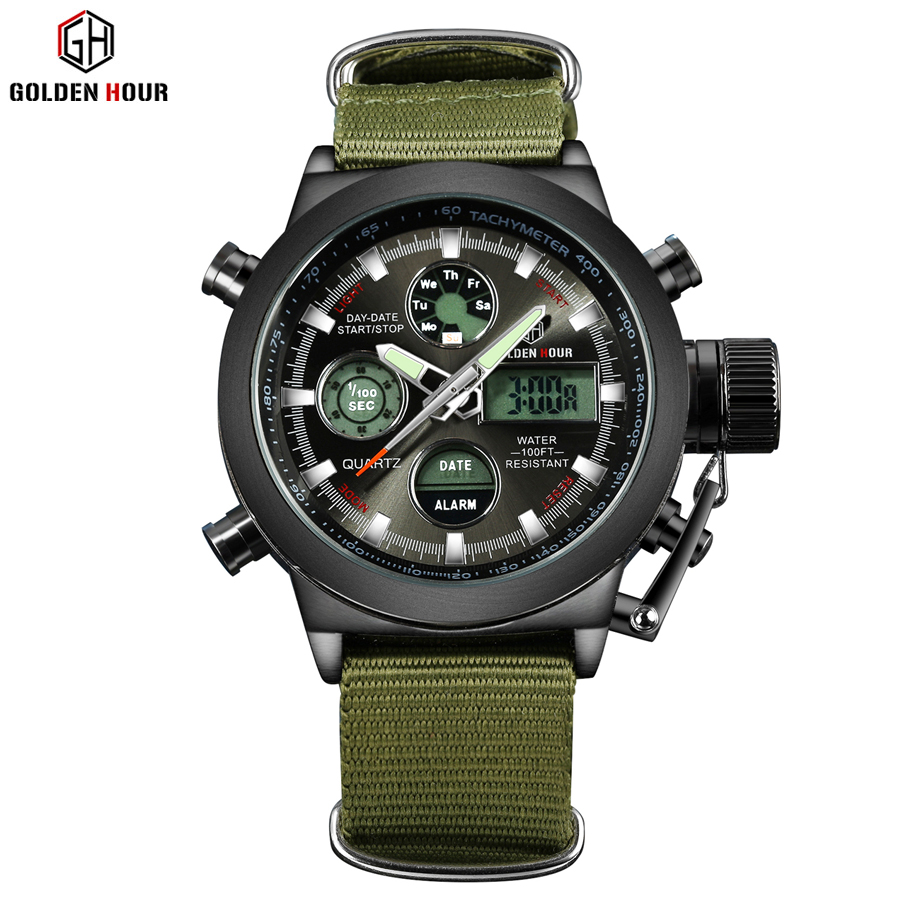 Reloj militar de moda para hombre, reloj militar, correa de lona, horas, caja de acero, 3 ATM, impermeable, deportes, LED Digital, reloj de cuarzo analógico