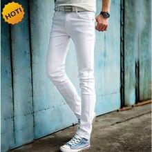 ГОРЯЧАЯ 2017 Мода Белый Цвет Skinny Jeans Мужчины Hip Hop Брюки Карандаш Подростки Мальчики Повседневная Slim Fit Манжетой Днища 27-34