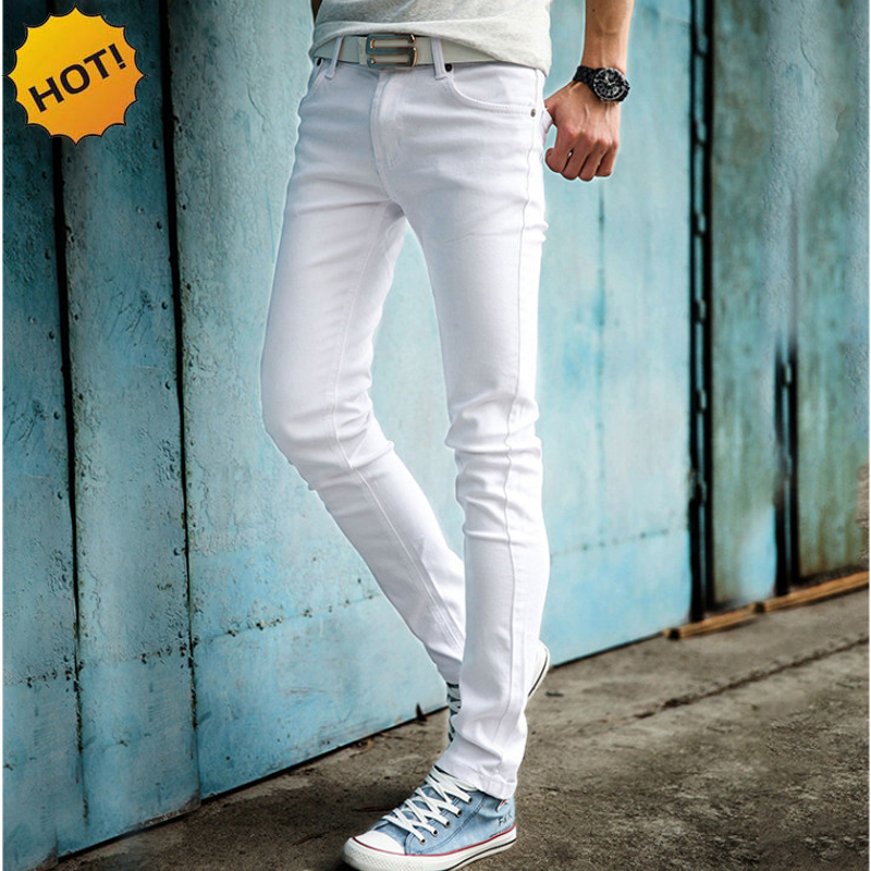 HOT 2019 Mode Casual Vit Färg Skinny Men Hip Hop Pencil Byxor Tonåring Student Pojkar Casual Slim Fit Cuffed Jeans 27-34