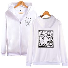 2018 BTS kpop Love Yourself  cotton Zipper oversized hoodies Sweatshirts Bangtan Boys moletom Women/men Zipper tracksuit 4XL
