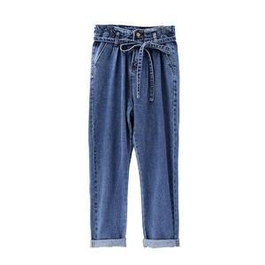 Image 4 - Summer Jeans Woman Vintage Plus Size High Waist Jeans Lace Up Boyfriend Jeans For Women Casual Denim Harem Pants Trousers C4238