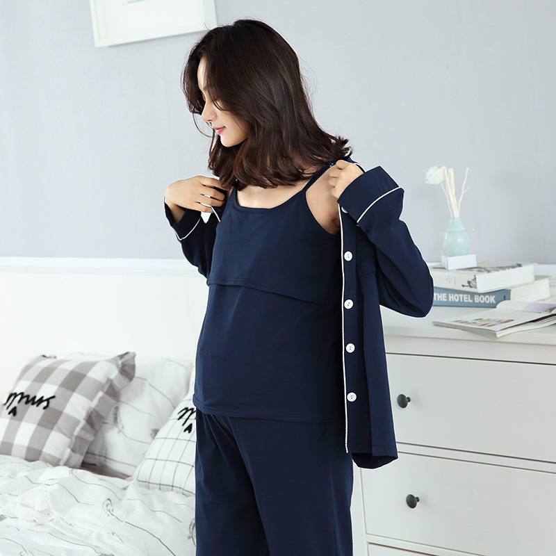 Cotton 3 Pieces Maternity Clothes Maternity Sleepwear Breastfeeding Sleepwear Nursing Pajamas Pregnant Women Pajamas Pajama Set maternity pajama hot robes autumn winter pregnant woman unisex home coral fleece pajama comfortable solid pockets women bathrobe