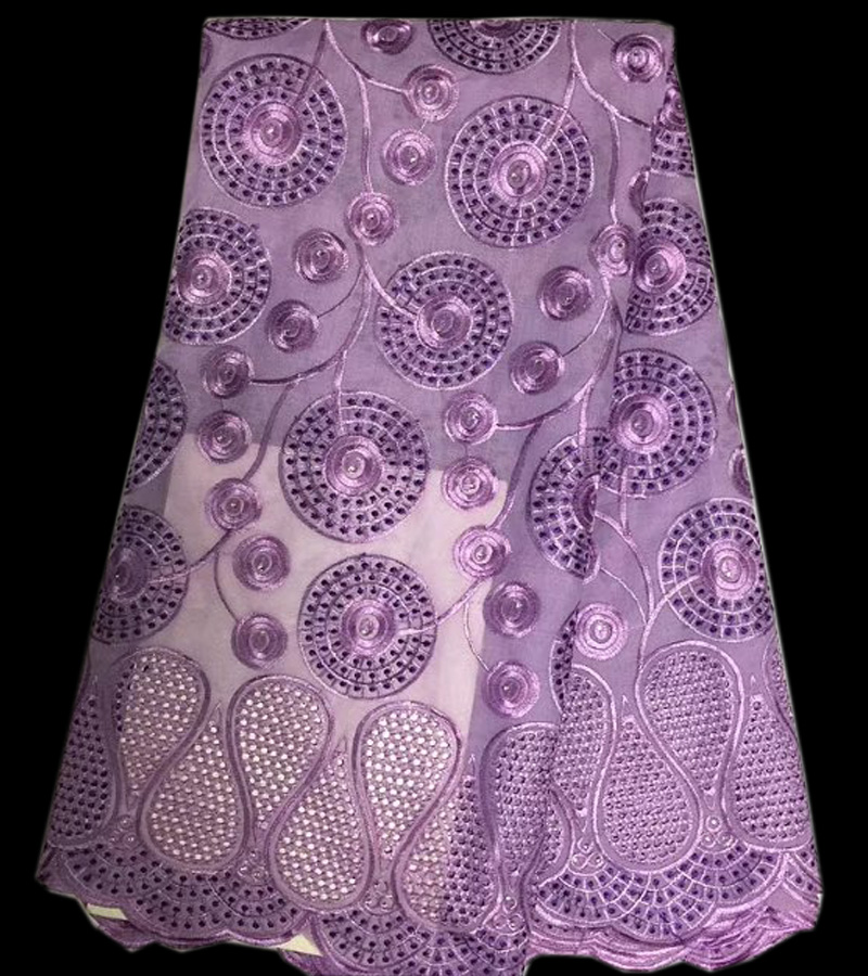 (5yards/pc) high quality embroidered African cotton lace fabric Swiss voile lace fabric in lilac purple for elegant dress CLS63