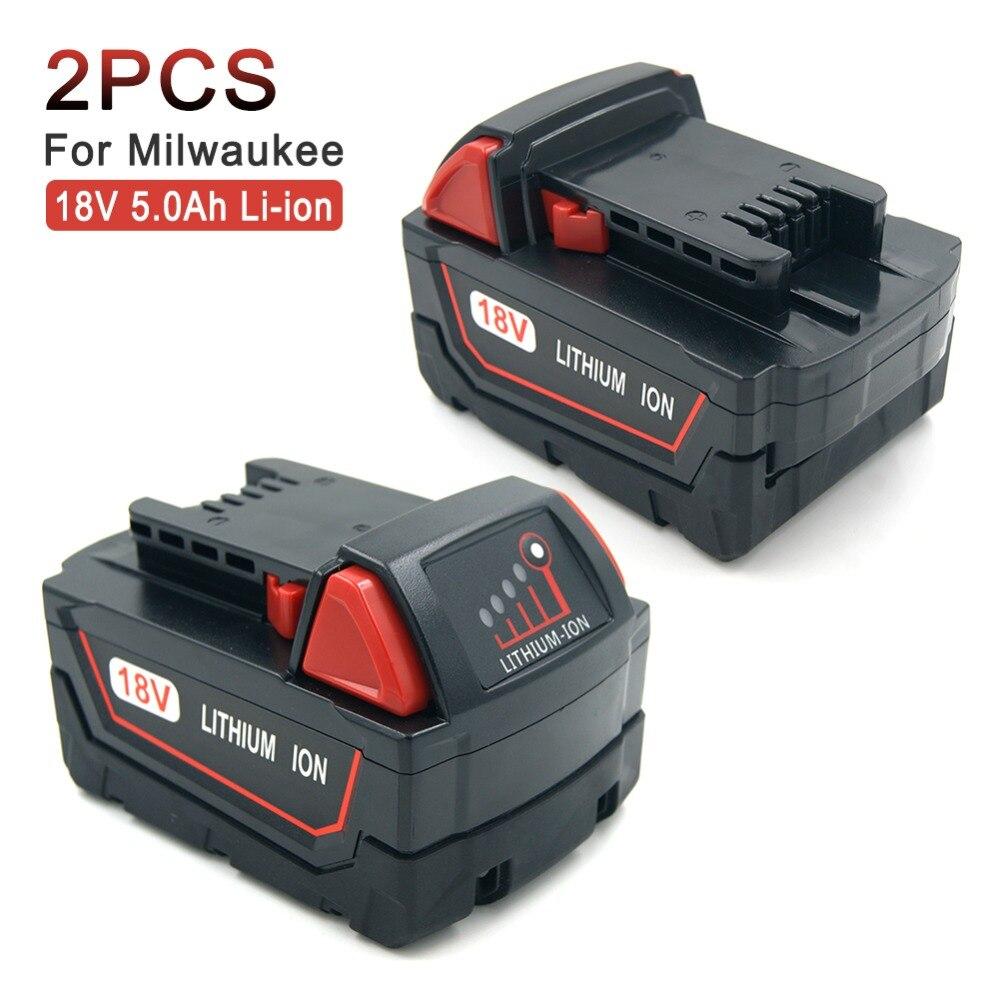 2 pcs Haute Capacité 5.0A 18 v Rechargeable Outils Sans Fil Batterie De Remplacement pour Milwaukee M18 XC 48-11- 1850, m18 XC, C18B, Li18