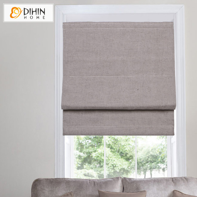 Dihin Home Cotton Linen Blackout Curtain Roman Blinds