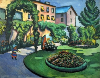 High quality Oil painting Canvas Reproductions Gartenbild (1911) By August Macke hand painted фото