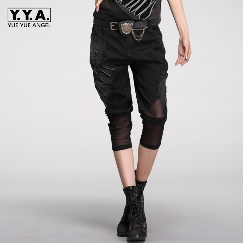 Women Hip Hop New Spring Summer Hole Zippers Pencil Calf Length   Pants   Fashion Mesh Joggers Casual Harem   Pants     Capris   Streetwear