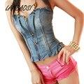 Женский джинсовый топ LANBAOSI  на молнии  с высокой талией  для вечеринок  клубов