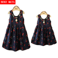 Baby Girls Dresses 2016 Summer Matching Mother Daughter Dress Fashion Print Cotton Family Look Zipper Mom And Daughter Vestido