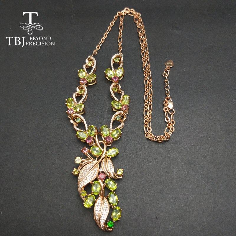 TBJ, nouveau design de luxe avec péridot naturel collier de pierres précieuses en argent sterling 925 bijoux fins pour dame avec boîte-cadeau - 3