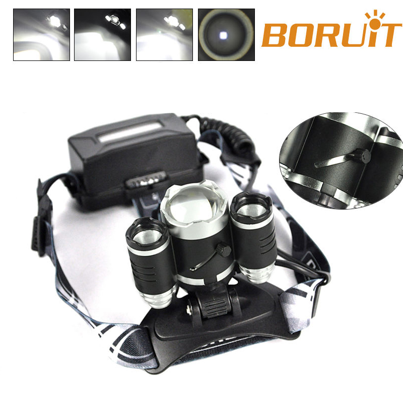 BORUIT RJ5000 Plus B22 Rechargeable Zoom XM-L2+2X XPE White LED Hunting Headlamp Micro USB Headlight Torch boruit b13 cree xm l2 led headlamp rechargeable camping headlight lamp torch rechargeable linterna antorcha bicycle head light