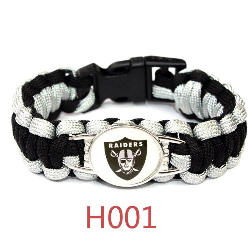 3 Style Oakland Raider Football Team Bracelet Sport Team Umbrella Braided Bracelet Football Fans Gift 10PCS