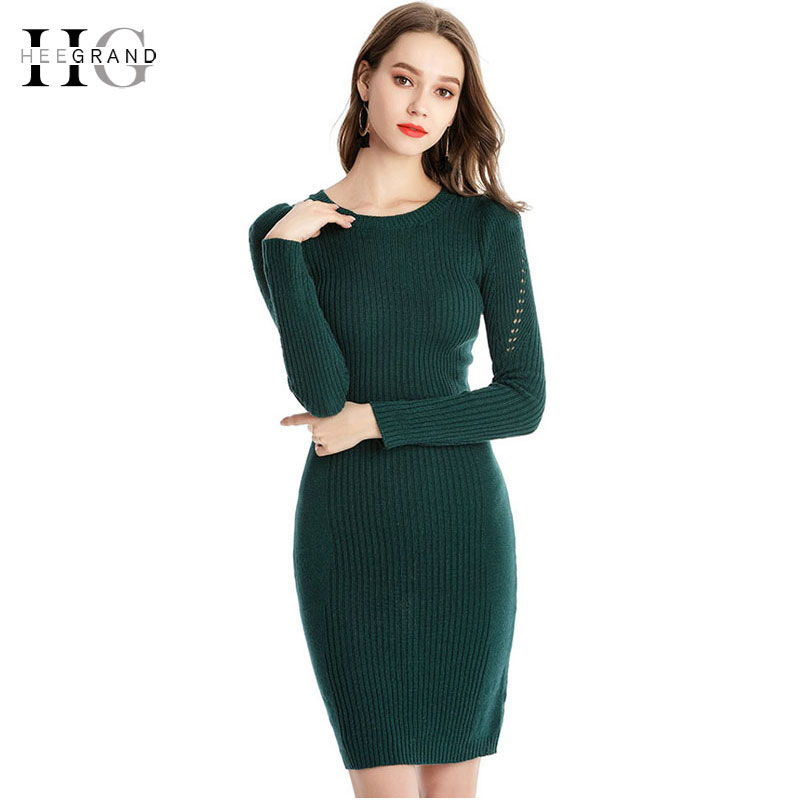 HEE GRAND Slim Knitted Sweater-Dress for Women 2018 Autumn Elegant Office Ladies Sweaters Sexy O-Neck Hollow Out Pullover WZQ295