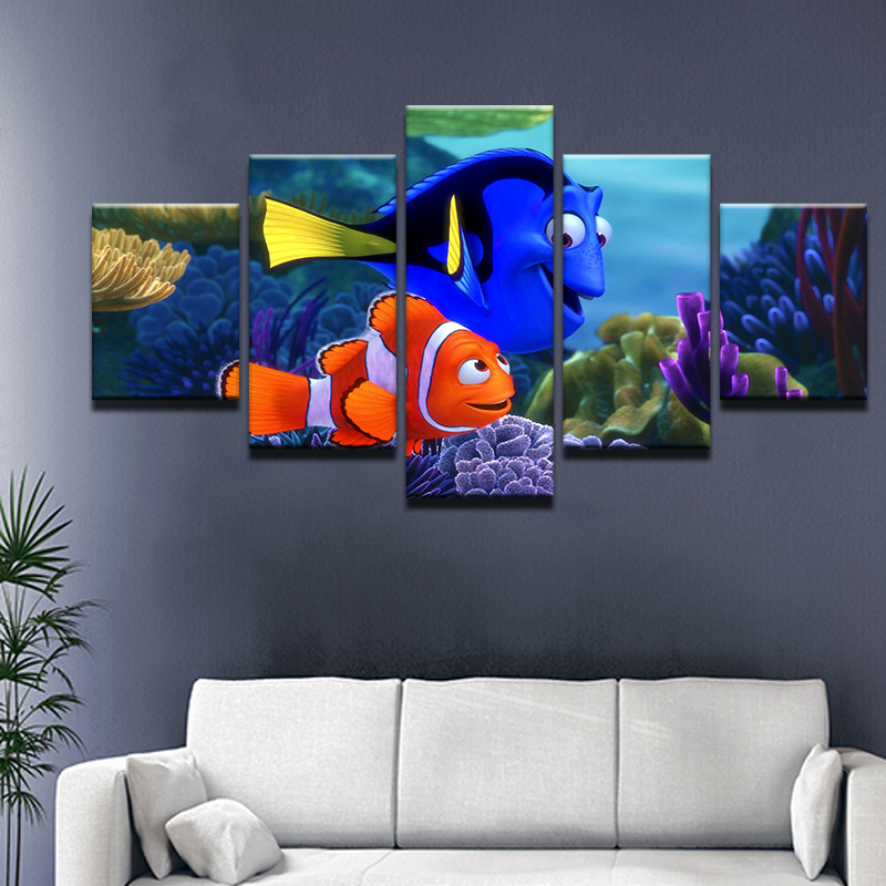 Online Shop 5 Panel Underwater World Finding Nemo Home Wall Decor ...