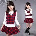 Рубашка жилет и юбка 3 шт. прекрасный 3-14 лет девочка одежда набор 2 цвета выбор 3 шт. дети девушка набор одежды BC3649